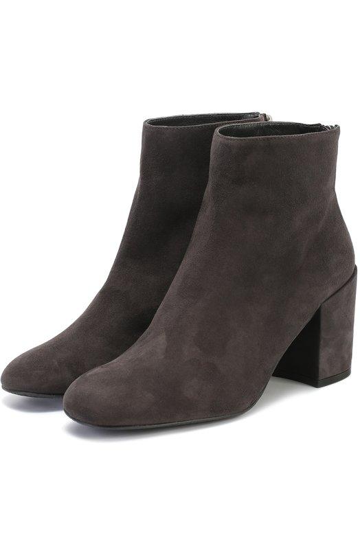 Замшевые ботильоны на устойчивом каблуке Stuart WeitzmanБотильоны<br><br><br>Российский размер RU: 39<br>Пол: Женский<br>Возраст: Взрослый<br>Размер производителя vendor: 39-5<br>Материал: Стелька-кожа: 100%; Подошва-резина: 100%; Замша натуральная: 100%;<br>Цвет: Серый