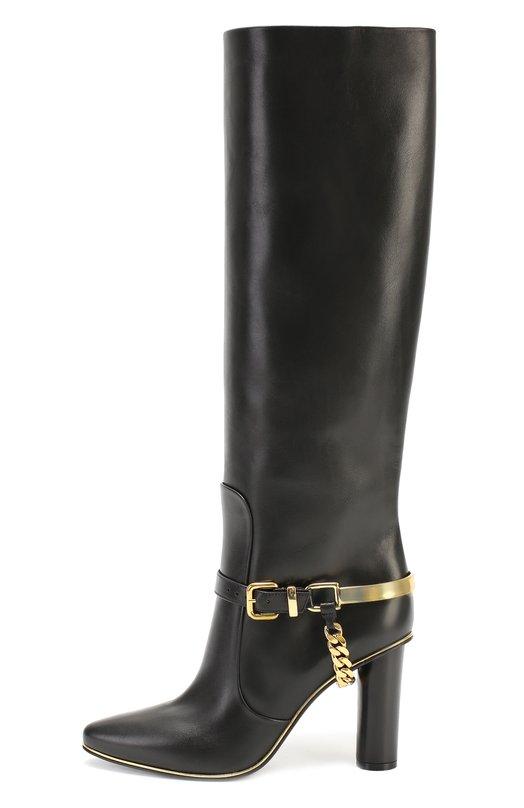 Кожаные сапоги с ремешком и декоративной цепью Balmain W6CBS060906E
