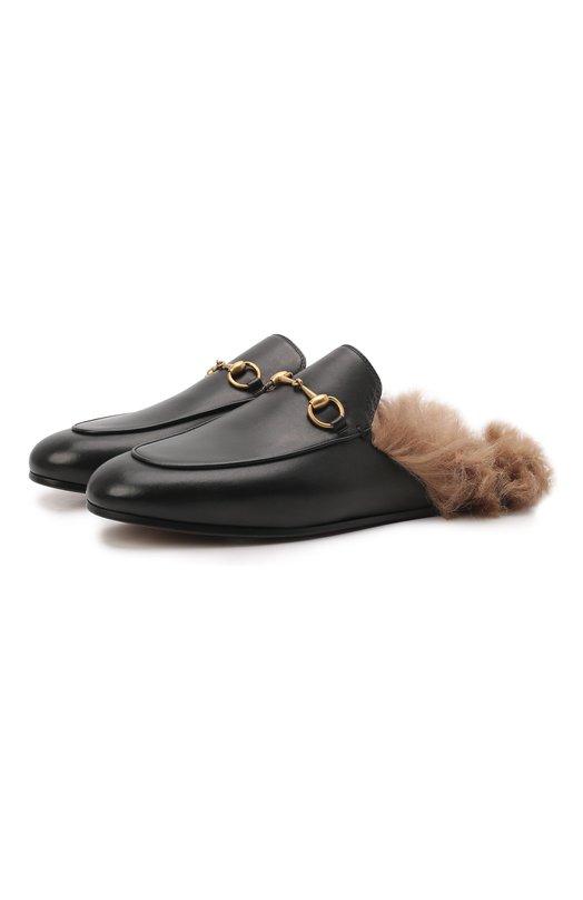 Кожаные сабо Princetown с пряжкой-трензелем Gucci 397749/DKHH0