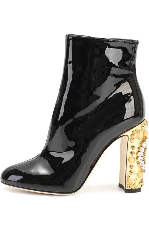 Купить Лаковые ботильоны Vally на каблуке с декором Dolce & Gabbana, 0112/CT0247/AE639, Италия, Черный, Кожа натуральная: 100%; Стелька-кожа: 100%; Подошва-кожа: 100%;