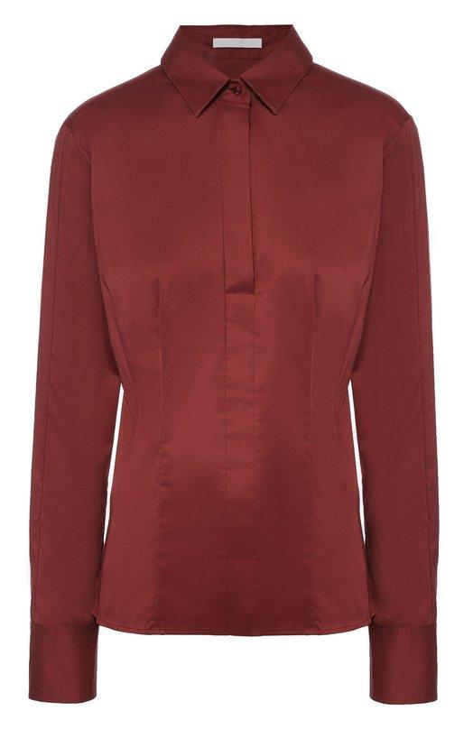 Приталенная хлопковая блуза HUGOБлузы<br>В осенне-зимнюю коллекцию марки, основанной Хуго Фердинандом Боссом, вошла приталенная блуза винного оттенка. При пошиве модели использован плотный гладкий хлопок с матовым блеском. Изделие с отложным воротником застегивается сбоку на потайную молнию, планка – на пуговицу.<br><br>Российский размер RU: 48<br>Пол: Женский<br>Возраст: Взрослый<br>Размер производителя vendor: 40<br>Материал: Хлопок: 63%; Полиэстер: 37%;<br>Цвет: Бордовый