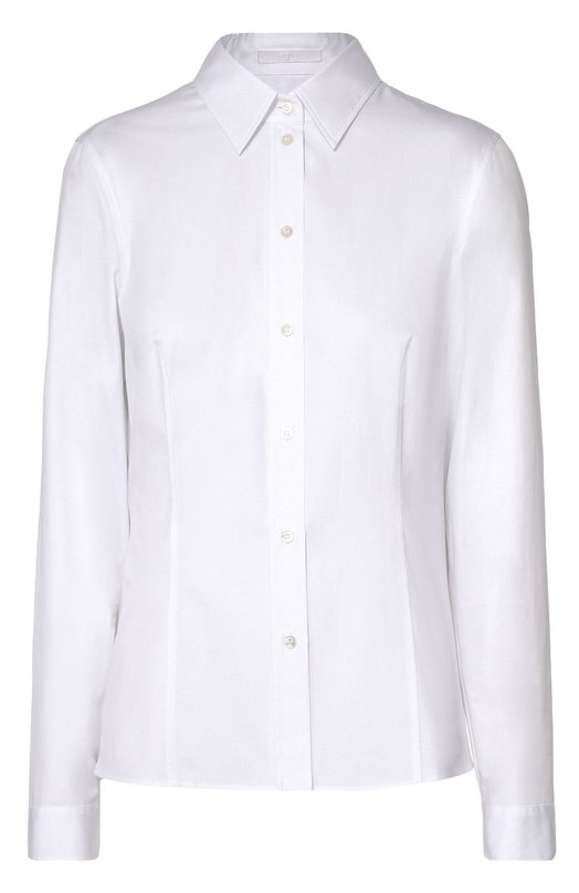 Приталенная хлопковая блуза HUGOБлузы<br><br><br>Российский размер RU: 50<br>Пол: Женский<br>Возраст: Взрослый<br>Размер производителя vendor: 42<br>Материал: Хлопок: 100%;<br>Цвет: Белый