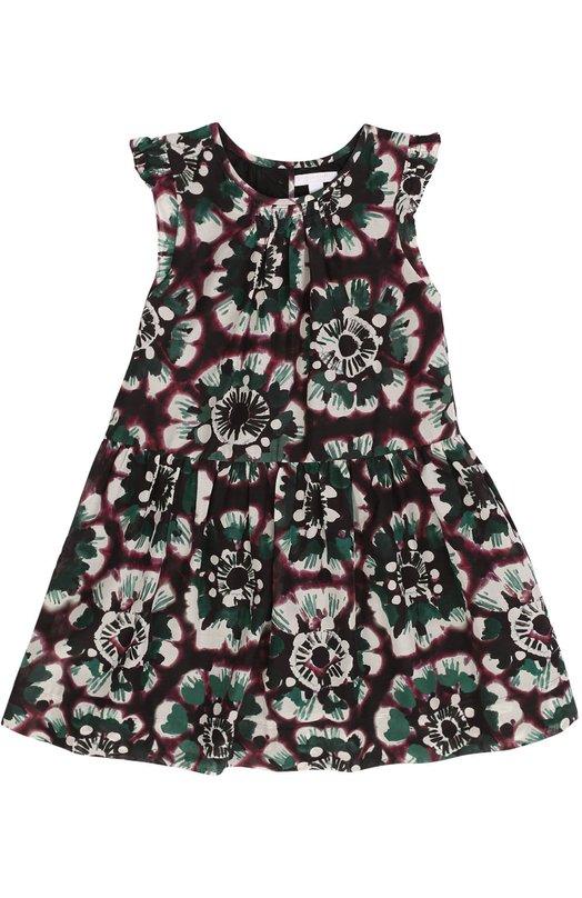 Платье из смеси хлопка и шелка с оборками и цветочным принтом Burberry 4013534