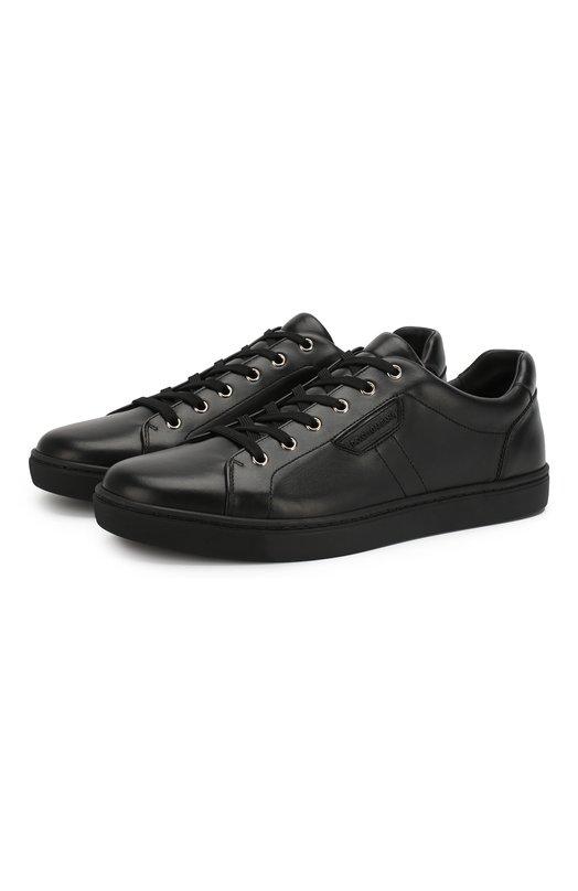 Кожаные кеды London на шнуровке Dolce &amp; GabbanaКеды<br><br><br>Российский размер RU: 44<br>Пол: Мужской<br>Возраст: Взрослый<br>Размер производителя vendor: 44<br>Материал: Кожа натуральная: 100%; Стелька-кожа: 100%; Подошва-резина: 100%;<br>Цвет: Черный