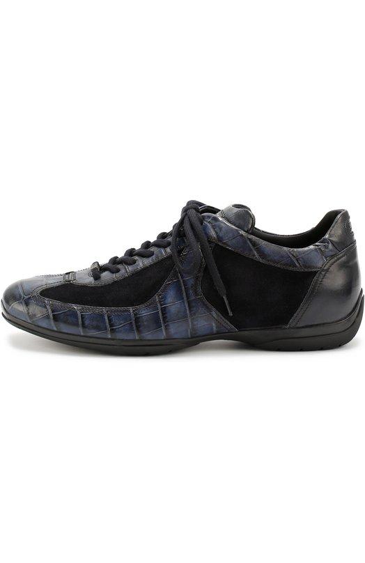 Кожаные кроссовки с тиснением и отделкой из замши Santoni MSAM09999NARRASH