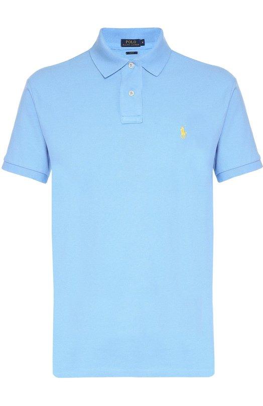 Хлопковое поло с короткими рукавами Polo Ralph LaurenПоло<br><br><br>Российский размер RU: 54<br>Пол: Мужской<br>Возраст: Взрослый<br>Размер производителя vendor: XXL<br>Материал: Хлопок: 100%;<br>Цвет: Голубой