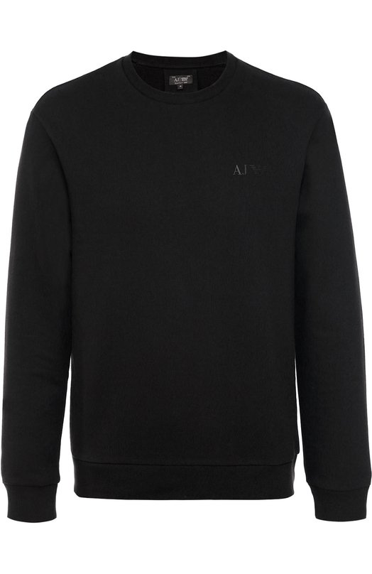 Хлопковый свитшот с логотипом бренда Armani JeansСвитеры<br>Для создания черного свитшота с длинными рукавами и круглым вырезом мастера марки использовали мягкий хлопок. Модель вошла в коллекцию сезона осень-зима 2016 года. На груди – аппликация в виде логотипа бренда и тотемного орла, впервые использованного Джорджио Армани для декора одежды в 1975 году.<br><br>Российский размер RU: 48<br>Пол: Мужской<br>Возраст: Взрослый<br>Размер производителя vendor: M<br>Материал: Отделка-хлопок: 95%; Хлопок: 72%; Отделка-эластан: 5%; Полиэстер: 28%;<br>Цвет: Черный