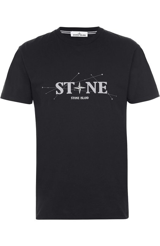 Хлопковая футболка с надписью Stone IslandФутболки<br><br><br>Российский размер RU: 50<br>Пол: Мужской<br>Возраст: Взрослый<br>Размер производителя vendor: L<br>Материал: Хлопок: 100%;<br>Цвет: Черный