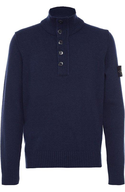 Шерстяной свитер с горлом на потайной молнии Stone IslandСвитеры<br>Мастера марки использовали для создания темно-синей модели с высоким воротом мягкую пряжу на основе гипоаллергенной шерсти. Свитер с длинными рукавами вошел в осенне-зимнюю коллекцию 2016 года. Молния на груди скрыта планкой с крупными черными пуговицами.<br><br>Российский размер RU: 46<br>Пол: Мужской<br>Возраст: Взрослый<br>Размер производителя vendor: S<br>Материал: Шерсть: 80%; Полиамид: 20%;<br>Цвет: Темно-синий