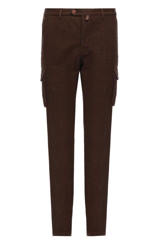 Хлопковые брюки карго KitonБрюки<br>В коллекцию сезона осень-зима 2016 года вошли коричневые брюки карго в едва заметную клетку. Модель с двумя боковыми накладными карманами сшита из тонкого хлопка. Нам нравится сочетать с белым поло, а также полупальто, брогами и сумкой синего цвета.<br><br>Российский размер RU: 48<br>Пол: Мужской<br>Возраст: Взрослый<br>Размер производителя vendor: 32<br>Материал: Хлопок: 98%; Эластан: 2%;<br>Цвет: Коричневый