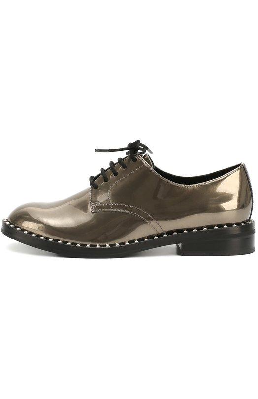 Кожаные дерби с заклепками на ранте AshБотинки<br>Дерби Wonder на широкой наборной подошве и невысоком квадратном каблуке вошли в коллекцию сезона осень-зима 2016 года. Модель изготовлена из гладкой лакированной кожи бронзового оттенка. Обувь фиксируется на ноге с помощью черных шнурков. На ранте — металлические шипы-пирамиды.<br><br>Российский размер RU: 36<br>Пол: Женский<br>Возраст: Взрослый<br>Размер производителя vendor: 36<br>Материал: Кожа натуральная: 100%; Стелька-кожа: 100%; Подошва-резина: 100%;<br>Цвет: Бронзовый