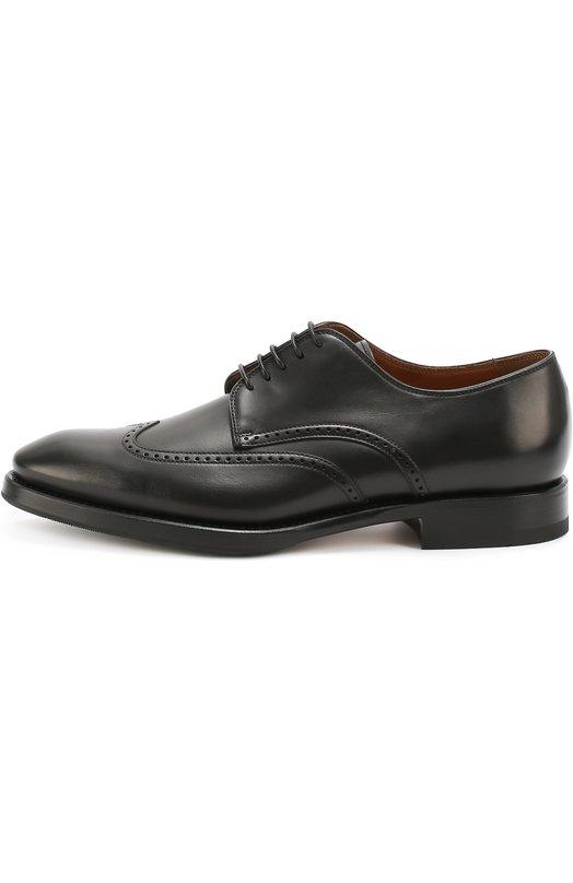Кожаные дерби с брогированием W.GibbsТуфли<br>Черные дерби из осенне-зимней коллекции 2016 года сшиты вручную из гладкой полированной кожи. Процесс изготовления каждой пары обуви длится более месяца. Мастера бренда украсили швы узорами, выполненными с помощью лазерной перфорации.<br><br>Российский размер RU: 43<br>Пол: Мужской<br>Возраст: Взрослый<br>Размер производителя vendor: 43-5<br>Материал: Кожа натуральная: 100%; Стелька-кожа: 100%; Подошва-кожа: 100%; Подошва-резина: 100%;<br>Цвет: Черный