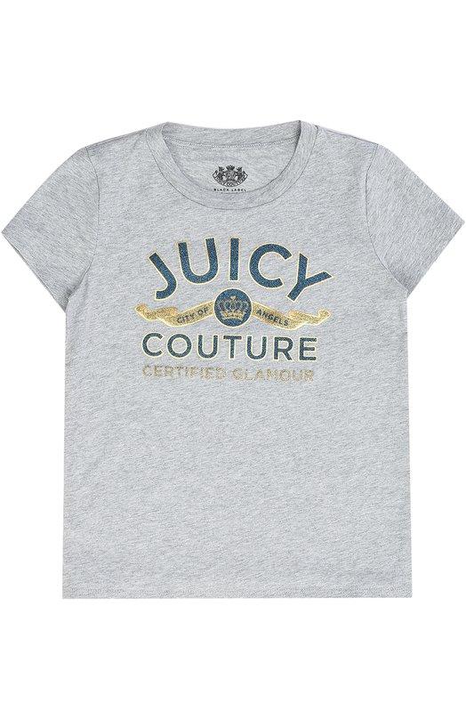 Футболка с контрастным принтом Juicy CoutureФутболки<br><br><br>Размер Years: 7<br>Пол: Женский<br>Возраст: Детский<br>Размер производителя vendor: 116-128cm<br>Материал: Хлопок: 100%;<br>Цвет: Серый