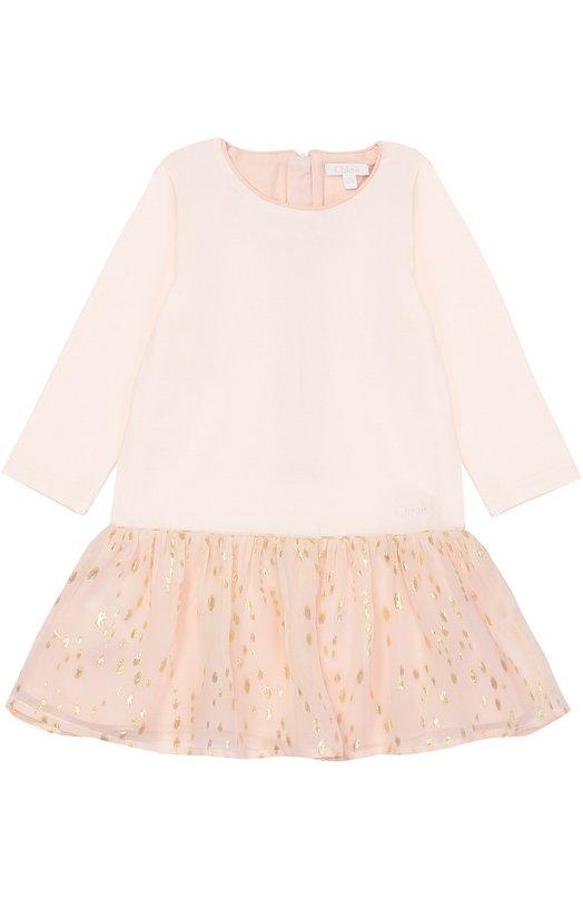 Платье прямого кроя с оборкой Chloe C92411