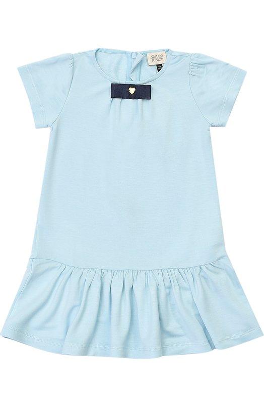Платье с декоративной отделкой и оборкой Giorgio ArmaniПлатья<br><br><br>Размер Years: 5<br>Пол: Женский<br>Возраст: Детский<br>Размер производителя vendor: 110-116cm<br>Материал: Вискоза: 94%; Эластан: 6%;<br>Цвет: Голубой