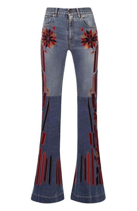 Купить Расклешенные джинсы с контрастными нашивками Roberto Cavalli, DWJ217/DS006, Италия, Синий, Хлопок: 98%; Эластан: 2%;