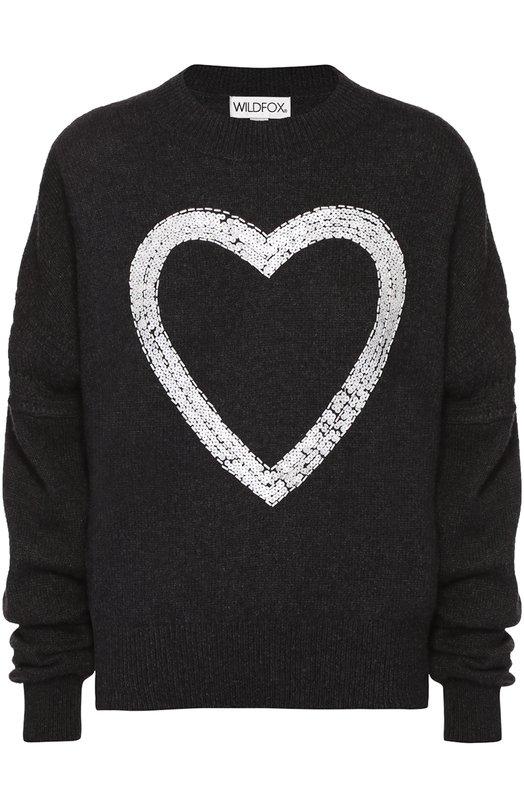 Кашемировый пуловер со спущенным рукавом и контрастной вышивкой WildfoxСвитеры<br><br><br>Российский размер RU: 48<br>Пол: Женский<br>Возраст: Взрослый<br>Размер производителя vendor: L<br>Материал: Кашемир: 100%;<br>Цвет: Черный