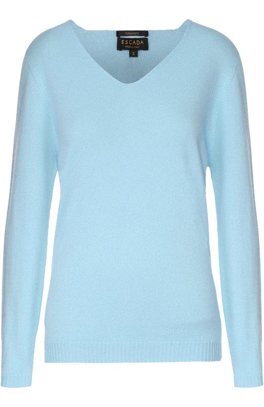 Кашемировый пуловер прямого кроя с V-образным вырезом EscadaСвитеры<br><br><br>Российский размер RU: 48<br>Пол: Женский<br>Возраст: Взрослый<br>Размер производителя vendor: L<br>Материал: Кашемир: 100%; Кристаллы Сваровски: 100%;<br>Цвет: Голубой