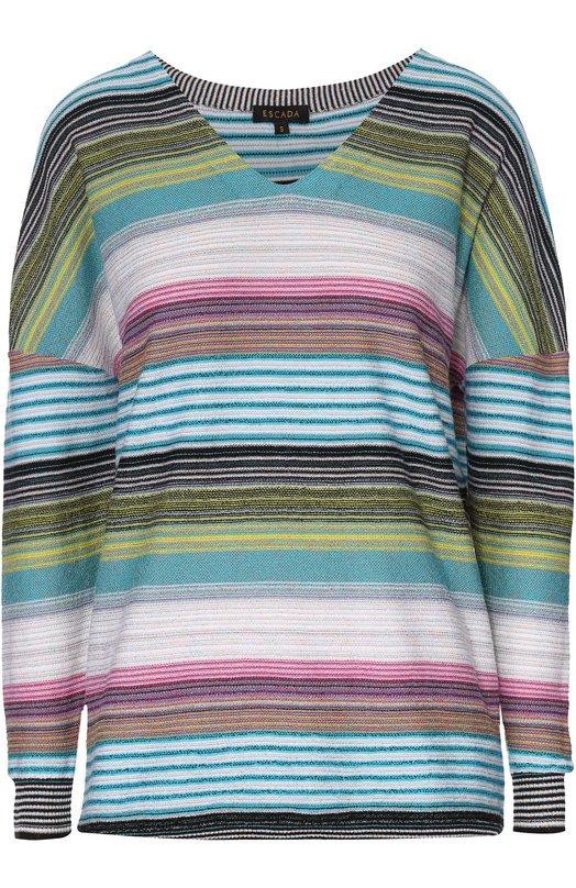 Шерстяной пуловер в полоску с V-образным вырезом Escada 5022299