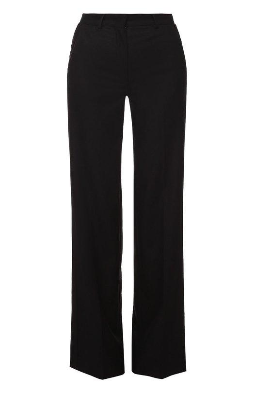 Шерстяные брюки прямого кроя со стрелками MonclerБрюки<br>Дизайнеры бренда выбрали для производства черных прямых брюк плотную гладкую шерсть с добавлением кашемира. Модель со стрелками вошла в коллекцию сезона осень-зима 2016 года. Нам нравится носить с черными ботинками, голубым пуловером и серой сумкой.<br><br>Российский размер RU: 40<br>Пол: Женский<br>Возраст: Взрослый<br>Размер производителя vendor: 38<br>Материал: Шерсть: 94%; Кашемир: 6%;<br>Цвет: Черный
