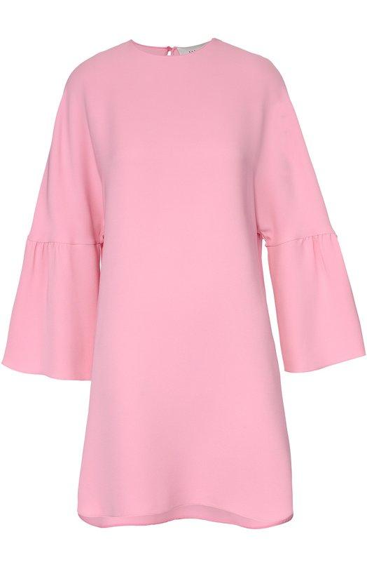 Шелковое платье асимметричного кроя с широким рукавом ValentinoПлатья<br><br><br>Российский размер RU: 38<br>Пол: Женский<br>Возраст: Взрослый<br>Размер производителя vendor: 36<br>Материал: Шелк: 100%;<br>Цвет: Розовый