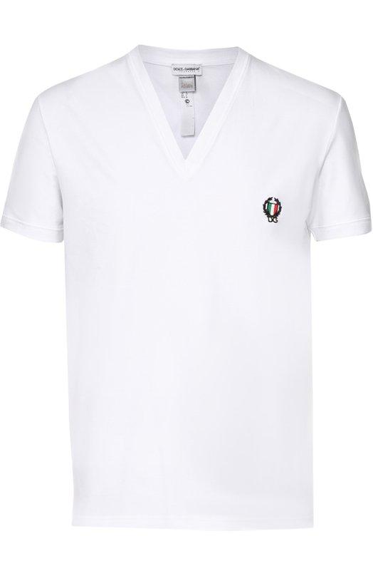 Хлопковая футболка с V-образным вырезом Dolce &amp; GabbanaФутболки<br><br><br>Российский размер RU: 54<br>Пол: Мужской<br>Возраст: Взрослый<br>Размер производителя vendor: 7<br>Материал: Хлопок: 90%; Эластан: 10%;<br>Цвет: Белый