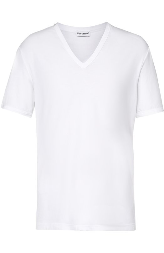 Хлопковая футболка с V-образным вырезом Dolce &amp; GabbanaФутболки<br><br><br>Российский размер RU: 48<br>Пол: Мужской<br>Возраст: Взрослый<br>Размер производителя vendor: 4<br>Материал: Эластан: 8%; Хлопок: 46%; Вискоза: 46%;<br>Цвет: Белый