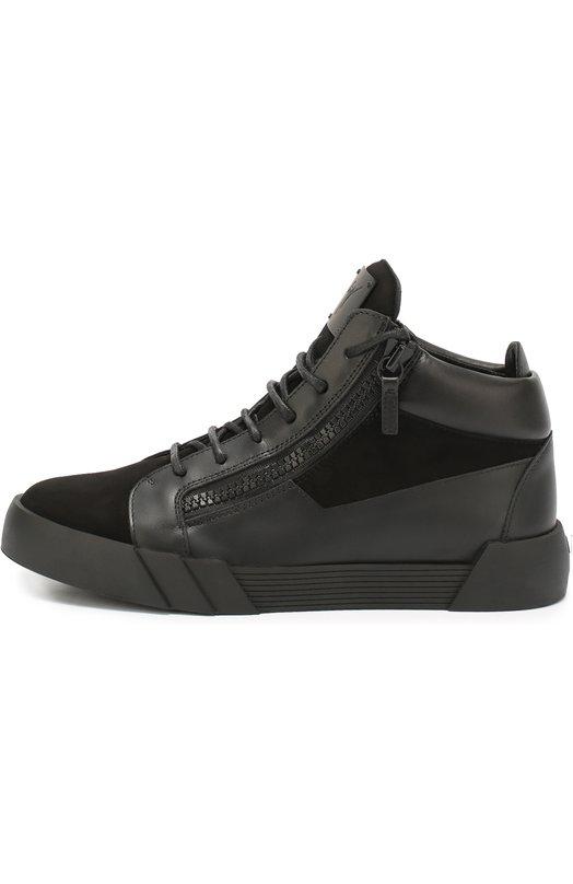 Высокие кожаные кеды The Shark 5.0 на шнуровке с молниями Giuseppe Zanotti DesignКеды<br>Джузеппе Занотти включил высокие черные кеды The Shark 5.0 в осенне-зимнюю коллекцию 2016 года. Для создания модели с круглым мысом и на широкой подошве была использована комбинация из гладкой мягкой замши и матовой кожи. Обувь на шнуровке дополнена двумя боковыми молниями.<br><br>Российский размер RU: 44<br>Пол: Мужской<br>Возраст: Взрослый<br>Размер производителя vendor: 44<br>Материал: Кожа натуральная: 100%; Стелька-кожа: 100%; Подошва-резина: 100%; Замша натуральная: 100%;<br>Цвет: Черный