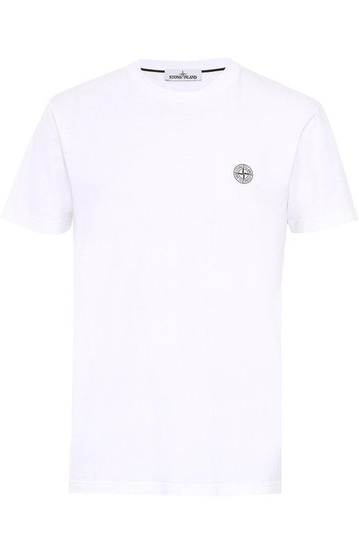 Хлопковая футболка с принтом на спине Stone Island 651520186
