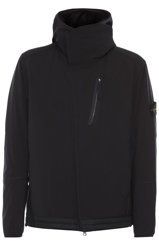 Утепленная куртка на молнии с капюшоном Stone IslandКуртки<br><br><br>Российский размер RU: 50<br>Пол: Мужской<br>Возраст: Взрослый<br>Размер производителя vendor: L<br>Материал: Полиэстер: 94%; Эластан: 6%; Подкладка-полиамид: 100%;<br>Цвет: Черный