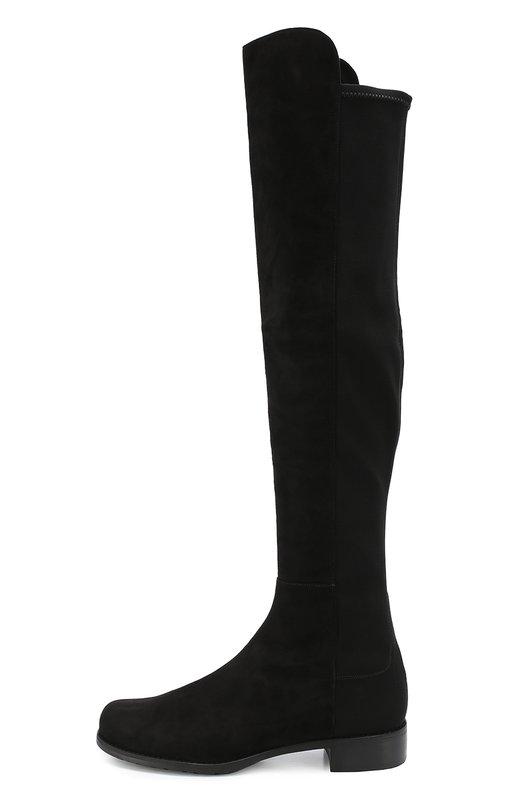 Комбинированные ботфорты на устойчивом каблуке Stuart WeitzmanСапоги<br>Элегантные и изящные женские высокие сапоги, которые идеально подчеркнут красоту женских ног и завершат эффектный образ в осенне-зимний период. Модель создана истинными мастерами своего дела из высококачественного материала - натуральной кожи в приятной цветовой гамме.<br><br>Российский размер RU: 35<br>Пол: Женский<br>Возраст: Взрослый<br>Размер производителя vendor: 35<br>Материал: Кожа натуральная: 100%; Стелька-кожа: 100%; Подошва-резина: 100%; Замша натуральная: 100%; Текстиль: 100%;<br>Цвет: Черный