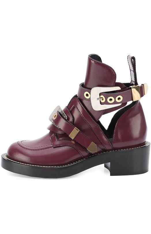 Кожаные ботинки с декорированными ремешками BalenciagaБотинки<br><br><br>Российский размер RU: 39<br>Пол: Женский<br>Возраст: Взрослый<br>Размер производителя vendor: 39<br>Материал: Кожа натуральная: 100%; Стелька-кожа: 100%; Подошва-кожа: 100%;<br>Цвет: Бордовый