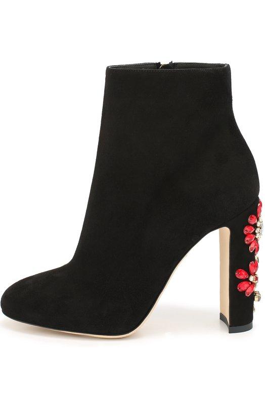 Замшевые ботильоны Vally на каблуке с декором Dolce & Gabbana 0112/CT0079/AD791
