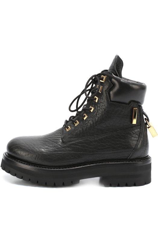 Кожаные ботинки с декоративным замком BuscemiБотинки<br>Джон Бушеми включил в коллекцию сезона осень-зима 2016 года ботинки на широкой подошве с глубоким протектором. Обувь изготовлена из мягкой матовой кожи черного цвета. Задник декорирован подвесным позолоченным замком с выгравированным логотипом марки.<br><br>Российский размер RU: 38<br>Пол: Женский<br>Возраст: Взрослый<br>Размер производителя vendor: 38<br>Материал: Кожа натуральная: 100%; Стелька-кожа: 100%; Подошва-резина: 100%;<br>Цвет: Черный