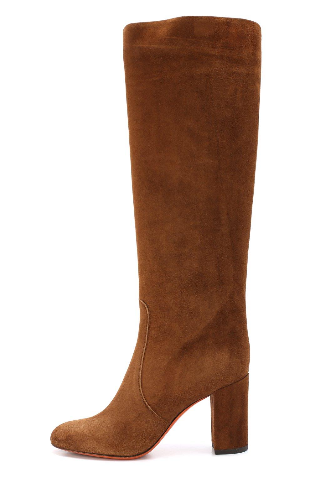 Замшевые ботинки коричневого цвета