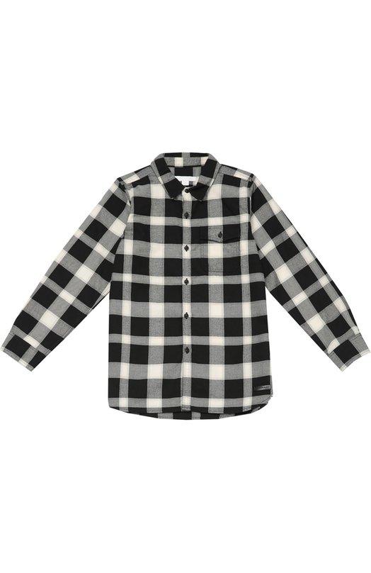 Хлопковая рубашка в клетку BurberryБлузы<br><br><br>Размер Years: 7<br>Пол: Мужской<br>Возраст: Детский<br>Размер производителя vendor: 122-128cm<br>Материал: Хлопок: 100%;<br>Цвет: Черно-белый
