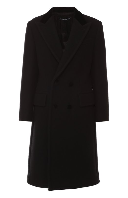 Двубортное шерстяное пальто с карманами Dolce &amp; GabbanaПальто и плащи<br>Доменико Дольче и Стефано Габбана включили в осенне-зимнюю коллекцию 2016 года двубортное пальто с остроконечными широкими лацканами и тремя карманами. При создании приталенной модели была использовала плотная шерсть черного цвета. Воротник и пуговицы обтянуты бархатом в тон.<br><br>Российский размер RU: 40<br>Пол: Женский<br>Возраст: Взрослый<br>Размер производителя vendor: 38<br>Материал: Шерсть: 96%; Подкладка-вискоза: 58%; Подкладка-купра: 42%; Хлопок: 4%;<br>Цвет: Черный