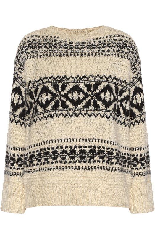Пуловер свободного кроя с контрастным принтом Polo Ralph LaurenСвитеры<br>Ральф Лорен включил в осенне-зимнюю коллекцию 2016 года пуловер свободного кроя, со спущенной линией плеч. Кремовая модель с черным орнаментом связана из мягкой смесовой пряжи на основе акрила и шерсти. Круглый вырез, широкие манжеты и пояс выполнены в технике английской резинки.<br><br>Российский размер RU: 44<br>Пол: Женский<br>Возраст: Взрослый<br>Размер производителя vendor: M<br>Материал: Отделка-хлопок: 78%; Полиэстер: 6%; Акрил: 40%; Шерсть: 39%; Отделка-полиэстер: 22%; Шерсть альпака: 15%;<br>Цвет: Кремовый