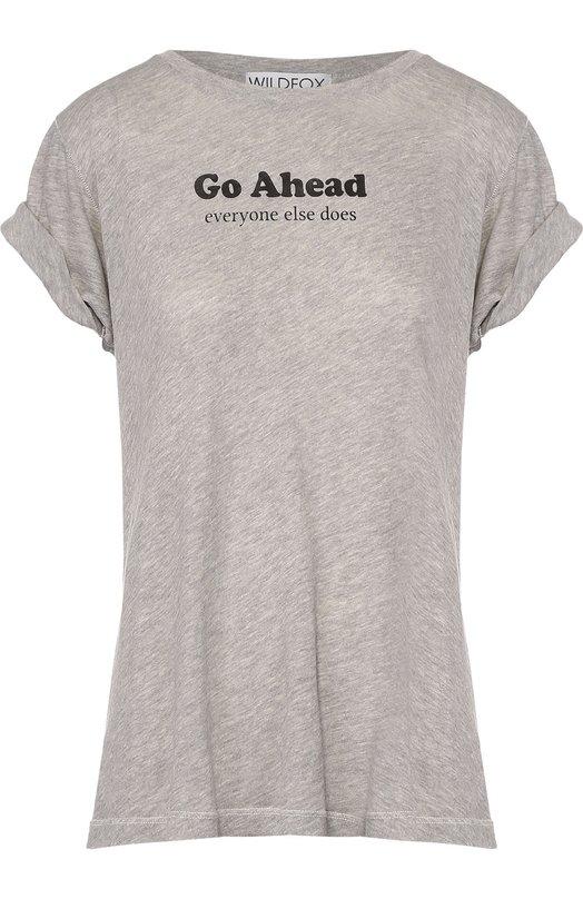 Хлопковая футболка прямого кроя с контрастной надписью Wildfox WHR00957M