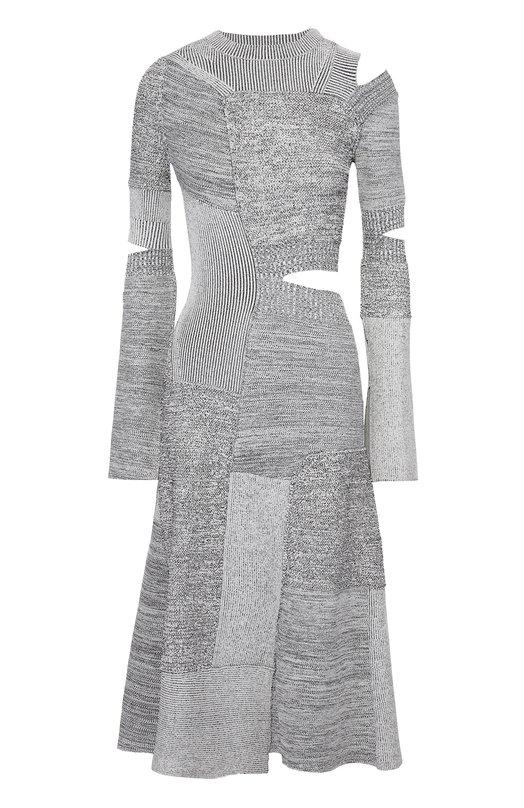 Приталенное вязаное платье с декоративными разрезами Proenza Schouler R164775-KY070