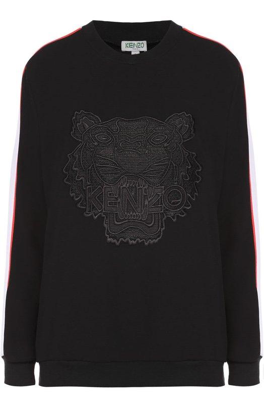 Хлопковый свитшот с контрастной отделкой и вышивкой в виде тигра Kenzo F662T00105AC