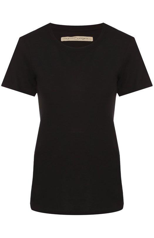 Приталенная футболка с круглым вырезом Raquel AllegraФутболки<br><br><br>Российский размер RU: 44<br>Пол: Женский<br>Возраст: Взрослый<br>Размер производителя vendor: 2<br>Материал: Хлопок: 50%; Полиэстер: 50%;<br>Цвет: Черный