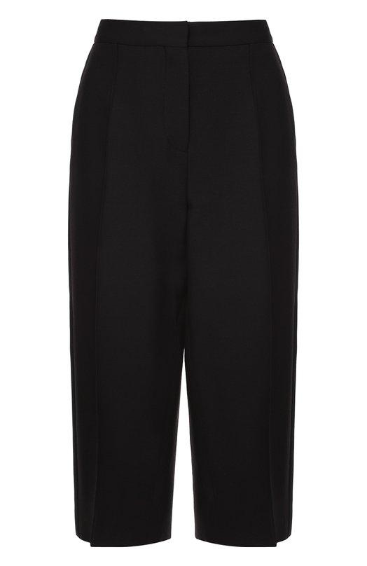 Купить Укороченные брюки прямого кроя с шелковыми лампасами Valentino, MB3RB1A0/1CF, Италия, Черный, Шерсть: 65%; Шелк: 35%; Отделка-полиэстер: 100%;