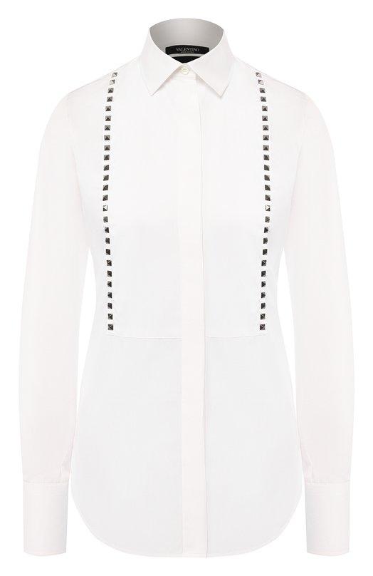 Купить Хлопковая блуза прямого кроя с шипами Valentino, LB0AB05U/1LW, Италия, Белый, Хлопок: 100%;
