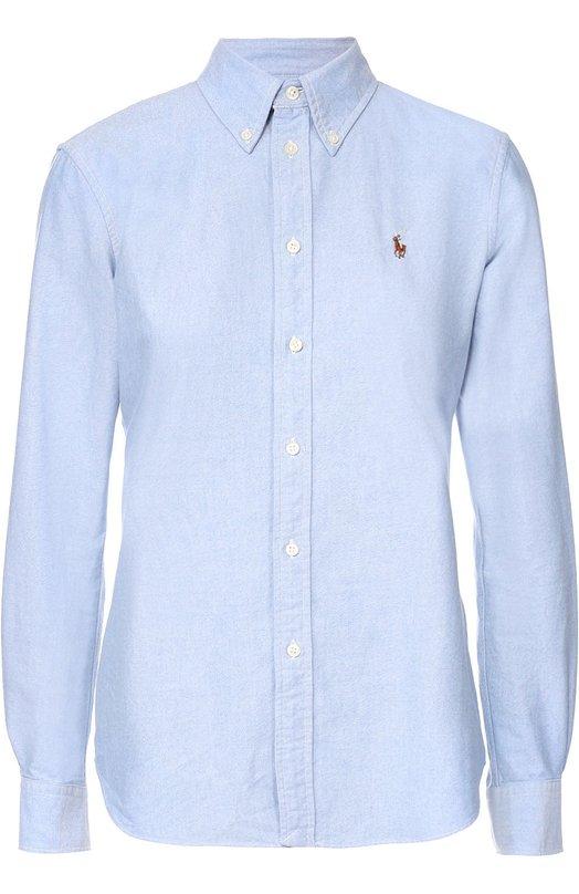 Купить Хлопковая приталенная блуза с вышитым логотипом бренда Polo Ralph Lauren, V33/I0HRS/C9203, Шри-Ланка, Синий, Хлопок: 100%;