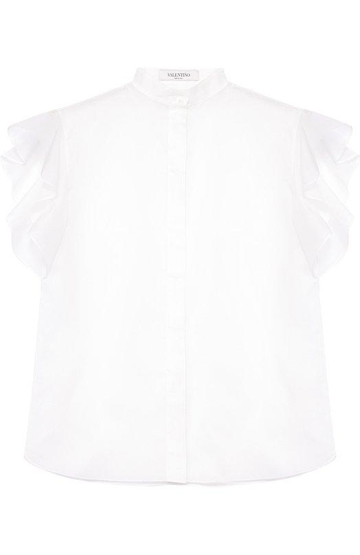 Полупрозрачная блуза с воротником-стойкой и оборками ValentinoБлузы<br><br><br>Российский размер RU: 50<br>Пол: Женский<br>Возраст: Взрослый<br>Размер производителя vendor: 48<br>Материал: Хлопок: 100%;<br>Цвет: Кремовый
