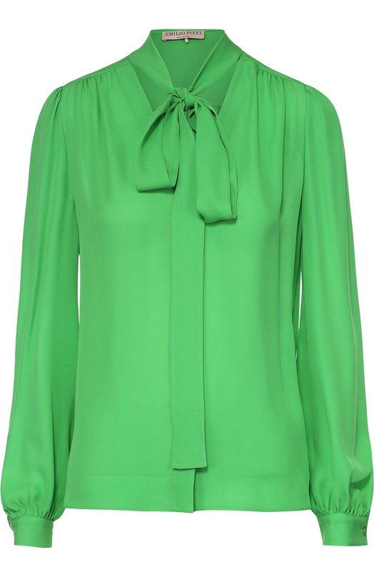 Шелковая блуза прямого кроя с воротником-аскот Emilio PucciБлузы<br><br><br>Российский размер RU: 42<br>Пол: Женский<br>Возраст: Взрослый<br>Размер производителя vendor: 40<br>Материал: Шелк: 100%;<br>Цвет: Зеленый