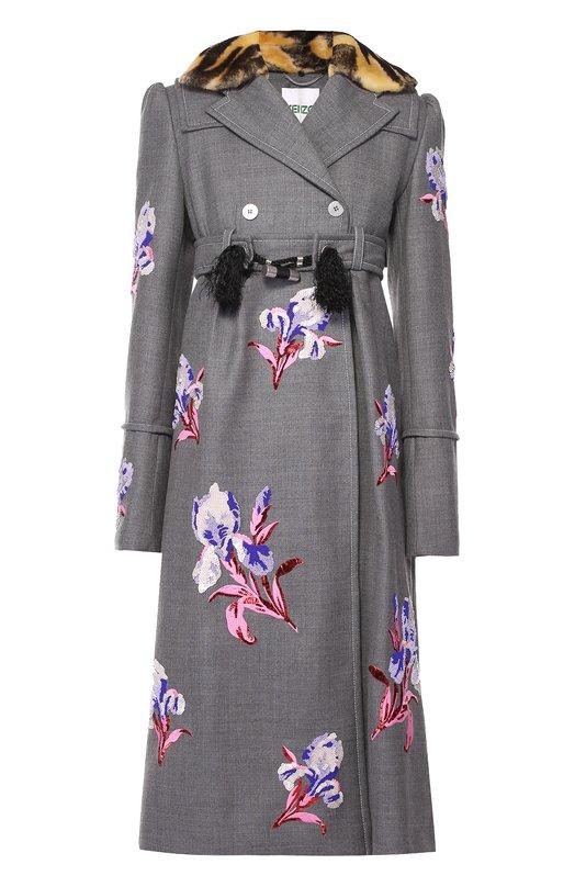 Приталенное пальто с цветочной вышивкой и меховым воротником Kenzo F661MA1575H0