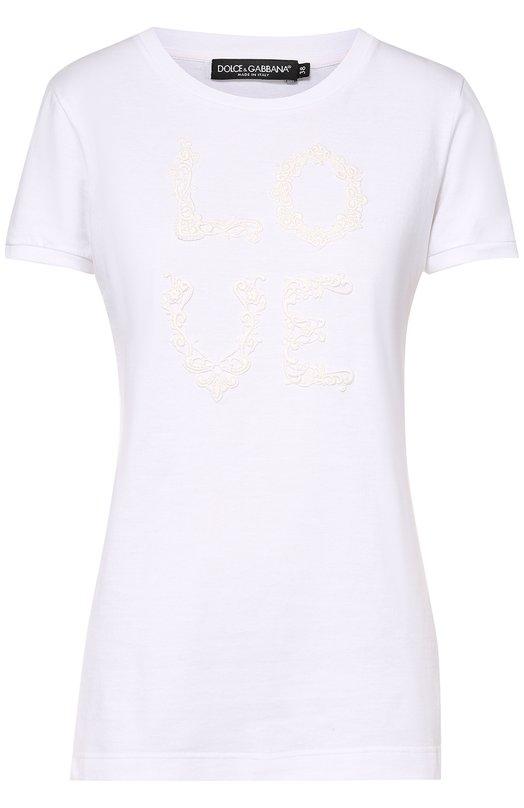 Приталенная футболка с кружевным принтом Dolce & Gabbana 0102/F8H32Z/G7ILA