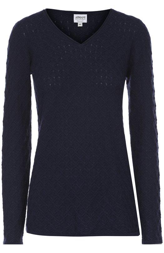 Купить Кашемировый пуловер фактурной вязки с V-образным вырезом Armani Collezioni, 6XMM01/MM01Z, Китай, Темно-синий, Кашемир: 100%;